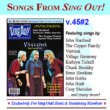CD art for Sing Out! V.45#2: Varttina; John Hartford; The Copper Family; Village Harmony; Kathryn Tickell; Ernie Hawkins; Chuck Brodsky