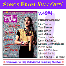 CD art for Sing Out! V.45#4: Lila Downs; The Delta Blues Cartel (David Honeyboy Edwards, Robert Lockwood Jr., Henry Mule Townsend & Homesick James); Ricky Skaggs; Jennifer & Hazel Wrigley; Joel Mabus; Peirce Pettis; plus a photo essay by John Cohen