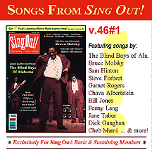 CD art for Sing Out! V.46#1: The Blind Boys of Alabama, Bruce Molsky, Sam Hinton, Cheb Mami, Bill Jones, Penny Lang, and Elijah Wald on Narcocorridos