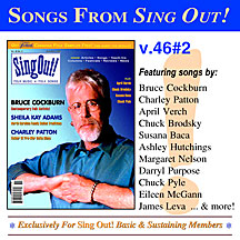 CD art for Sing Out! V.46#2: Bruce Cockburn, Sheila Kay Adams and the Sodom Laurel Singers, Charley Patton, April Verch, Susana Baca, Chuck Brodsky and Chuck Pyle