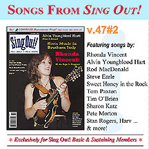 CD art for Sing Out! V.47#2: Rhonda Vincent, Alvin Youngblood Hart, Root Music in Sounthern Italy, Rod MacDonald, Harv, Sharon Katz & the Peace Train