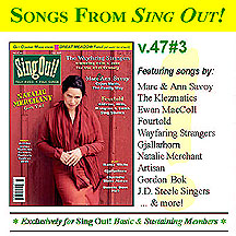 CD art for Sing Out! V.47#3: Natalie Merchant, The Wayfaring Strangers, Fourtold (Steve Gillette, Anne Hills, Cindy Mangsen & Michael Smith), Marc & Ann Savoy, Nancy White, Gjallarhorn