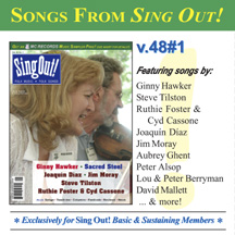 CD art for Sing Out! V.48#1: Ginny Hawker, Sacred Steel, Ruthie Foster & Cyd Cassone, Joaquin Diaz, Steve Tilston and Jim Moray