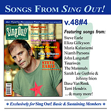 CD art for Sing Out! V.48#4: Steve Earle, Maria Kalaniemi, John Langstaff, Tinariwen, Eliza Gilkyson & Niamh Parsons
