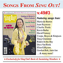 CD art for Sing Out! V.49#3: Maria de Barros, Kevin Burke, David Francey, Charlie Poole, Music from Tierra Caliente, Coope, Boyes & Simpson