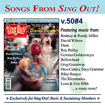 CD art for Sing Out! V.50#4: Contra Dance, Hungarian Folk Music, KlezKamp, Danu, David Wilcox, Roy Bailey, Riley Baugus, Leon & Eric Bibb, The Klezmatics