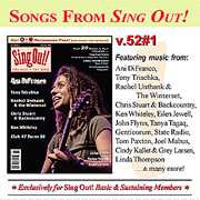 CD art for Sing Out! V.52#1: Ani DiFranco, Tony Trischka, Chris Stuart & Backcountry, Ken Whiteley, Rachel Unthank & The Winterset, Club 47, Genticorum, Tanya Tagaq, and John Flynn
