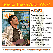CD art for Sing Out! V.52#2: Colin Meloy, The Imagined Village, Martin Hayes and Dennis Cahill, Susan Werner, Les Primitifs du Futur, Habib Koite, The Wilders, Lissa Schneckenburger, and Dawn Landes
