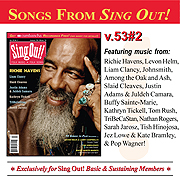CD art for Sing Out! V.53#2: Richie Havens, Liam Clancy, Slaid Cleaves, Justin Adams & Juldeh Camara, Kathryn Tickell, TriBeCaStan, Sarah Jarosz